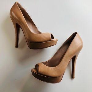 ALDO Tan Peep Toe Heels